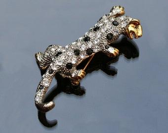 Climbing Leopard or Cheetah Brooch