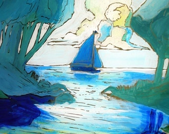 Lone Sailboat - Window Painting