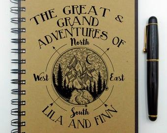 Travel Notebook, Travel Journal, Compass, Custom Journal, Custom Notebook, Personalized Journal, Spiral Notebook