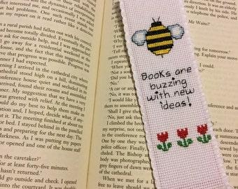 Handmade Cross stitch Bookmark - Bee.