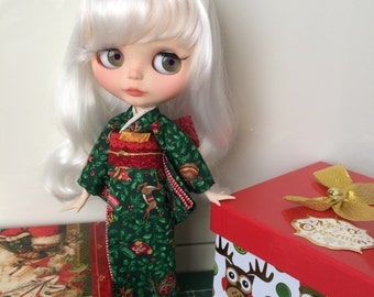 Christmas theme festive Handmade Kimono Yukata Japanese style dress for Blythe, Licca or similar size doll