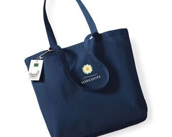 Yorkshire Rose -  Navy Blue Organic Cotton Shopper, embroidered