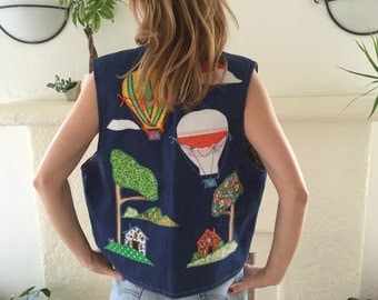 ON SALE Handmade vintage denim and applique California Morning patchwork vest // made in la
