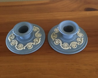 Pair of Wedgewood Blue Jasperware Candlesticks