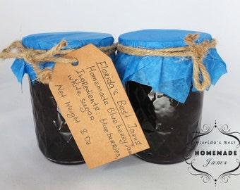 Florida Best Homemade Blueberry Jam Preserves Organic Product Glass Jar 8 Oz