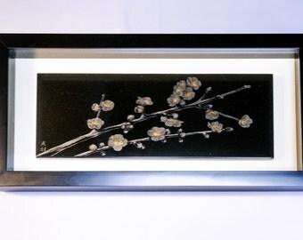 Lacquer Urushi Painting Japanese Art  Plum Blossom