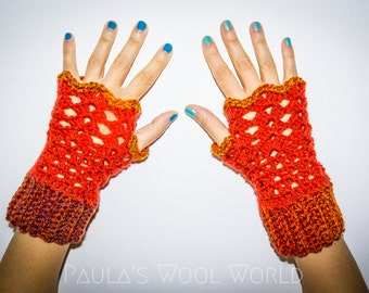 Wool Crocheted Wrist Warmers