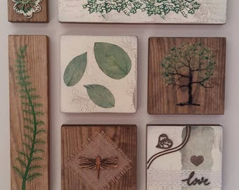 Natural collage,green plaque,nature art