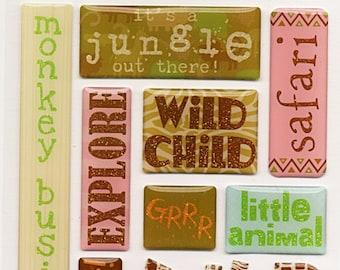 Zoo Animals  DCWV Safari Kids Glittered Epoxy Scrapbook Stickers Embellishments Cardmaking Crafts