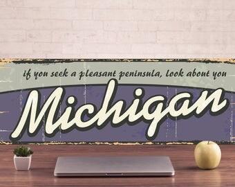 Michigan Signs, Michigan Sign, Michigan Decor, Michigan Art Prints, Michigan Metal Sign, Michigan metal art, Michigan art metal sign