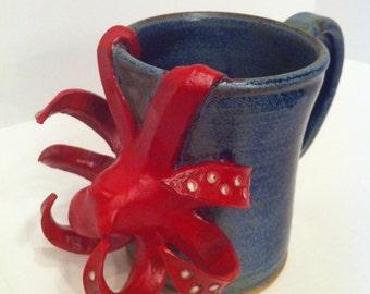 Red Octopus Mug - Pottery