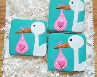 One dozen Elegant Stork Cookies Party Favors