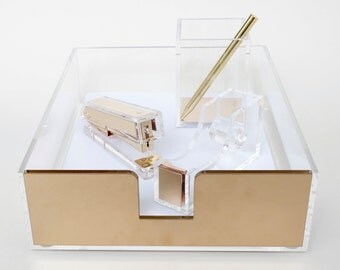 Acrylic Paper Tray // Acrylic Stationery Set // Stapler // Tape Dispenser // Pen Holder // Gold // Rose Gold // Gift // Lunarbaystore.com
