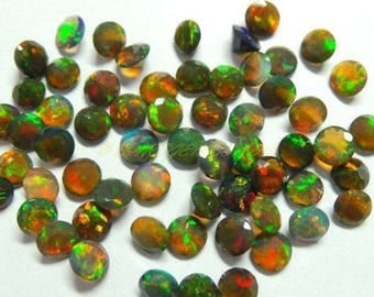 7mm Black Opal Faceted Round Loose Gemstone Top Quality Natural Ethiopian Black Opal Gemstone Wholesale Faceted Black Opal