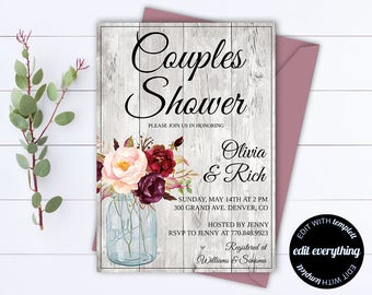 Rustic Couples Shower Invitation Template - Couples Shower Invite - Instant Download Couples Shower Invitation - Rustic Wedding Shower