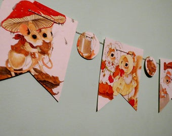 Little Mouse Pennant Vintage Childrens Book Bunting Book Page Pennant Kids Birthday Pennant