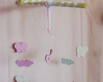Baby Mobile, Baby Girl Nursery Mobile, Cot Mobile, Butterfly Mobile