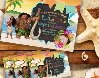 Digital Moana Luau Invitation and Thank You Card Tags Set