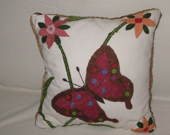 """Embroidered Pillow child """"Butterfly"""", cotton and silk Burgundy velvet, 40 x 40"""