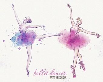 Watercolor Ballerina Ballet Dancer Girl Dancing Ballet
