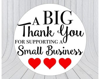 24 x Thank you for supporting a small business stickers, Thank you stickers, Etsy packaging stickers, Etsy business stickers 063