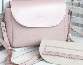 Pink women crossbody bag made of genuine leather