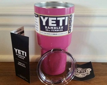 YETI - Authentic - PINK Gloss 30 oz Rambler Tumbler Cup Mug Powder Coated Yeti pink Yeti colored painted glossy shiny bright pink large 30oz