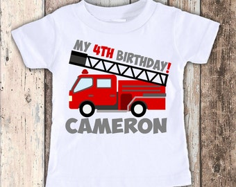 Fire Truck Engine custom designed birthday t shirt tshirt personalized