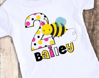 Personalized Bumble Bee custom designed birthday t shirt tshirt personalized