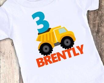 Construction Dump Truck designed birthday t shirt tshirt personalized