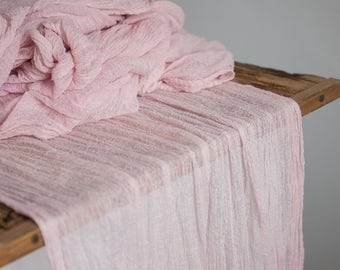 Blush Gauze Runner for Weddings Events, Centerpieces Runner, pale rose Cheesecloth Runner, Table Hand Dyed runner, Cotton Scrim, table decor