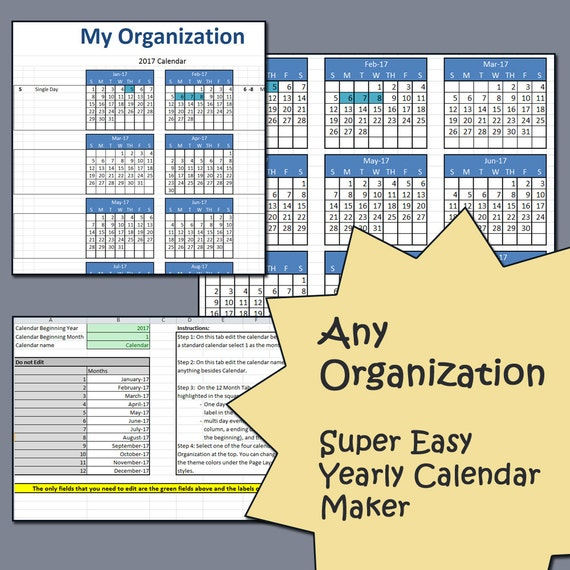 Year Calendar Maker : Easy yearly calendar creator