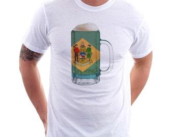 Delaware State Flag Beer Mug Tee, Unisex, Home State Tee, State Pride, State Flag, Beer Tee, Beer T-Shirt, Beer Thinkers, Beer Lovers Tee