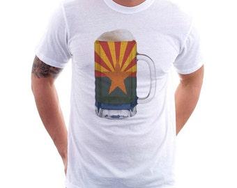 Arizona State Flag Beer Mug Tee, Unisex, Home State Tee, State Pride, State Flag, Beer Tee, Beer T-Shirt, Beer Thinkers, Beer Lovers Tee