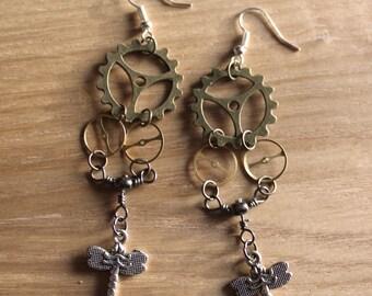 Steampunk Dragonfly Earrings