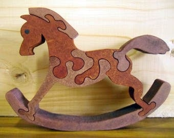 Wooden rocking horse puzzle