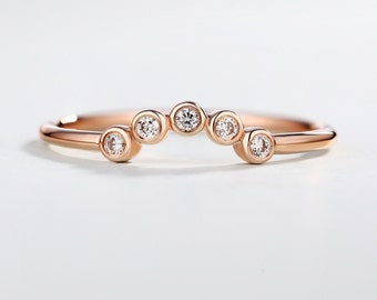 Rose gold Curved Diamond Wedding Band women Chevron Tiny Dainty Diamond Ring bezel set Arc stacking Stackable Promise Anniversary Gift