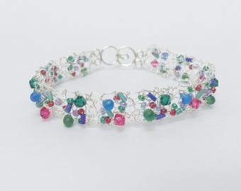 Fine Silver knitted Bracelet with Emerald and Fuchsia Swarovski Crystals