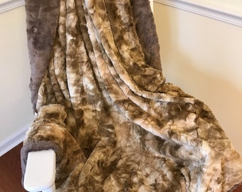 Rabbit Taupe Adult Minky Blanket - The Ultimate Couch Cuddle Blanket