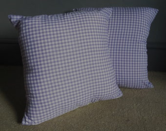 Handmade vintage purple gingham check cushion cover lounge sofa couch home 70's livingroom gift recycled fabric repurposed into a new item