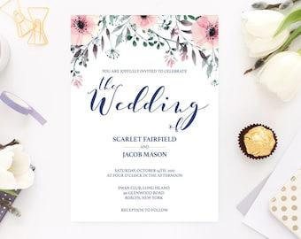 Watercolor Flower Wedding Invitations Wedding Invite Template Printable Wedding Invitation pdf Invitations Wedding DIY Wedding Printables