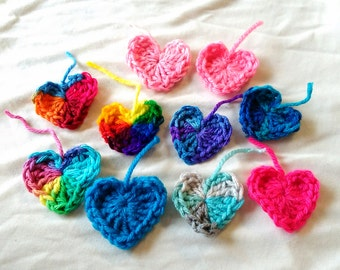 Set of 10 -  Crochet Small Hearts Colorful Heart Garlands