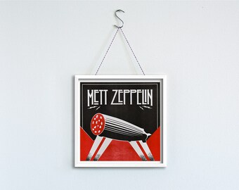 Mett Zeppelin - music meets flesh, framed art print, limited edition of 50, series MEAT LOVE butcher hook and sausage yarn