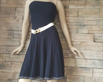 Navy blue knit dress,knit skirt strapless sailor dress