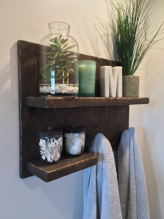 Items Similar To Rustic Bathroom Shelf With Towel Hooks On