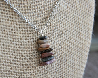 Stacked High Tiny Cairn Necklace