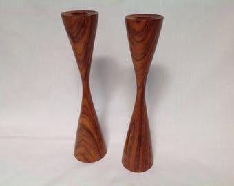 Pair Danish Modern Teak Candlesticks, Mid Century Modern, Eames,