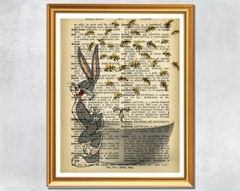 Downloadable Print - Bugs Bunny and the Bees - Children's Artwork