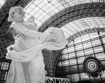 Musée d'Orsay, Paris Photography, French Home Decor, Black and White, Fine Art Photography, Paris Wall Art, Paris Architecture