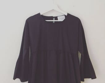 Black blouse with flounce, handmade, CHIARA LUPPI designer